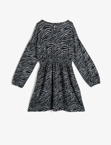 Koton Kids Zebra Desenli Elbise Siyah